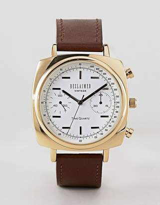 Reclaimed Vintage Inspired Square Chronograph Leather Watch In Brown 42mm Exclusive To ASOS