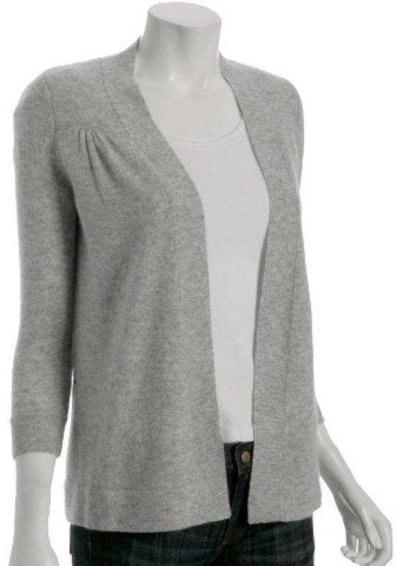 Hayden heather grey cashmere open cardigan