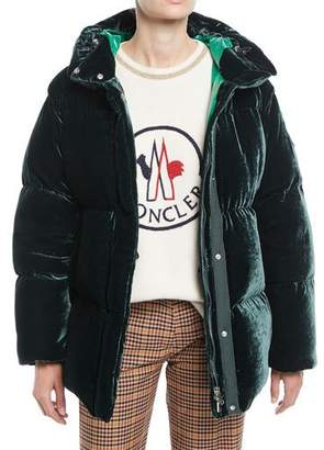 Moncler Butor Velvet Puffer Coat