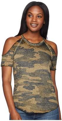Lucky Brand Camo Cold Shoulder Tee Women's T Shirt