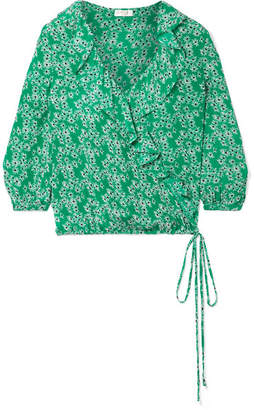 RIXO London - Sofia Ruffled Floral-print Silk Crepe De Chine Wrap Top - Green