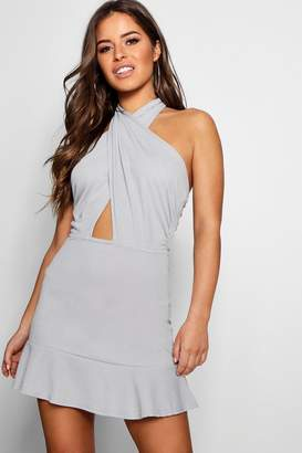 boohoo Petite Cross Front Backless Halter Neck Dress