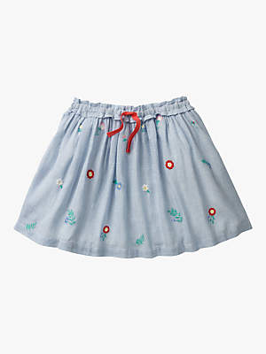 Boden Mini Girls' Pretty Floral Embroidered Skirt, Light Blue