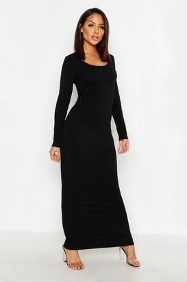 boohoo Long Sleeve Scoop Neck Ribbed Maxi Dress