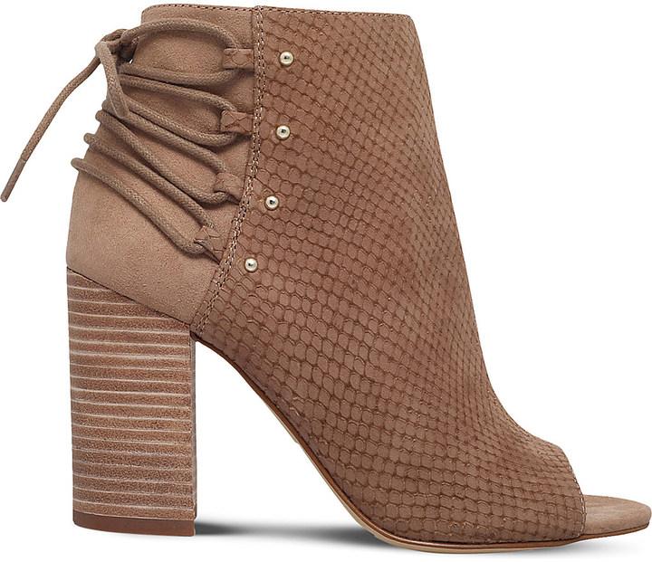 Nine WestNine West Britt embossed faux-leather open-toe boots