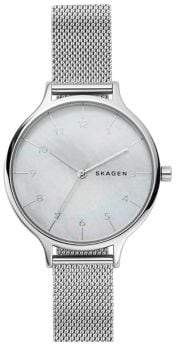 Skagen Anita Mother-of-Pearl and Stainless Steel Mesh Bracelet Watch
