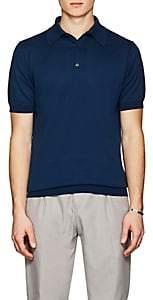 John Smedley Men's Knit Cotton Polo Shirt - Dk. Blue