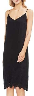 Vince Camuto Scalloped Eyelet Lace-Up Slip Dress