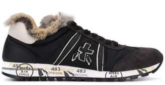 Premiata White Lucy mink fur trim sneakers