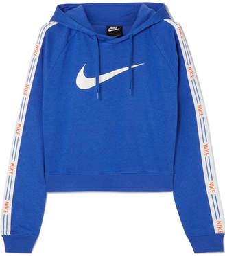 Nike Hypercool Cropped Striped Cotton-blend Jersey Hoodie - Blue