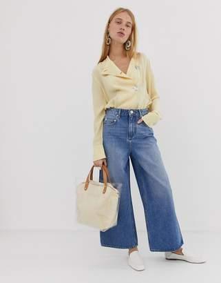 Asos Design DESIGN premium wide leg jeans in mid wash blue