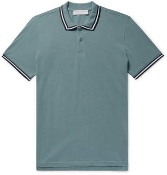 Orlebar Brown Jarrett Slim-fit Contrast-tipped Cotton-piqué Polo Shirt - Gray green