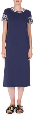 Kenzo Logo-Sleeve Jersey Midi Dress, Midnight Blue