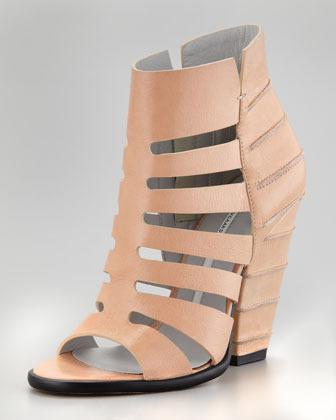 Cage-Line Cuban-Heel Sandal, Fawn