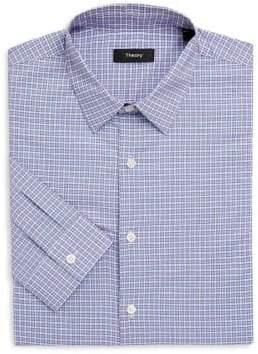 Theory Crosshatch Gingham Cotton Dress Shirt
