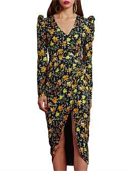 By Johnny Bella Floral Tuck Wrap Midi Dress