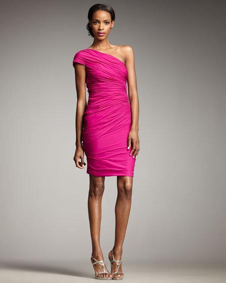 Badgley Mischka Platinum Label One-Shoulder Ruched Cocktail Dress