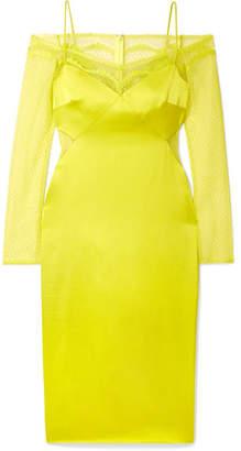 Cushnie Cold-shoulder Lace-trimmed Satin Midi Dress - Chartreuse