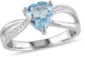 Tangelo 1-1/3 Carat T.G.W. Blue Topaz and Diamond-Accent Sterling Silver Cross-Over Infinity Heart Ring