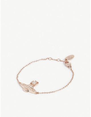 Vivienne Westwood Crystal and Pink Gold Orb Charm Minnie Bas Relief Bracelet