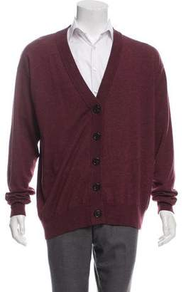 Maison Margiela Leather-Trimmed Wool Cardigan