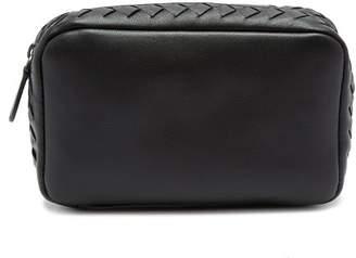 Bottega Veneta Intrecciato Leather Make Up Bag - Womens - Black