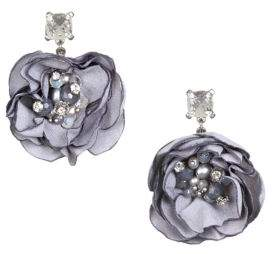 Badgley Mischka White Pearl, Light Grey Pearl and Crystal Flower Drop Earrings