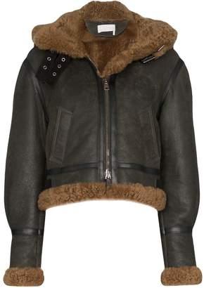 Chloé shearling hooded aviator jacket