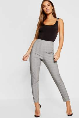 boohoo Petite Check High Waist Skinny Pants
