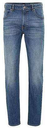 HUGO BOSS Relaxed-fit jeans in distressed bright-blue stretch denim