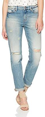 Denim Bloom Women's High Wasited Boyfriend Fit Vintage Feel with Cuff up Stretch Jean 26X28