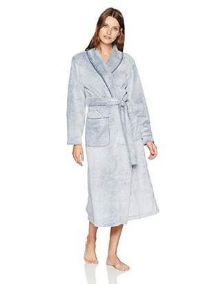 Arabella Women's Frosted Plush Robe with Blanket Stitch