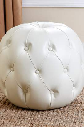 Abbyson Living Grace Ivory Grand Tufted Leather Ottoman