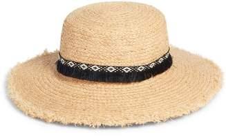 Caslon Fringe Trim Straw Boater Hat
