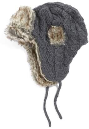 a4b814618b6 ... Nirvanna Designs Cable Knit Ear Flap Hat with Faux Fur Trim