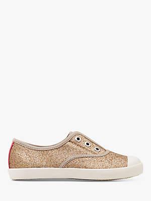 Boden Mini Children's Laceless Canvas Shoes, Gold Glitter