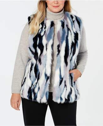 INC International Concepts I.n.c. Plus Size Faux-Fur Multicolored Vest