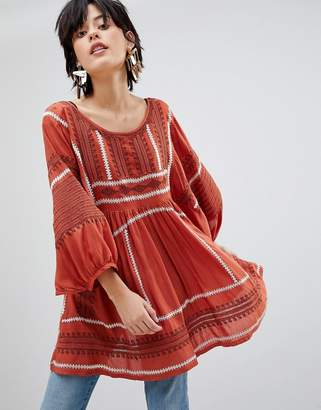 Free People Wild One Embroidered Tunic Top