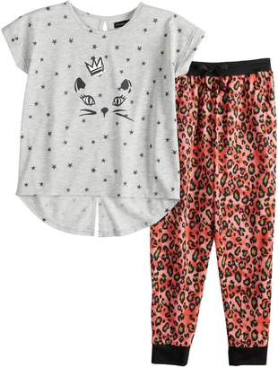 Cuddl Duds Girls 6-16 Splitback Top & Patterned Bottoms Pajama Set