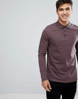 Asos DESIGN jersey long sleeve polo in purple
