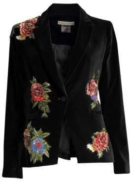 Alice + Olivia Hix Embellished Floral Velvet Blazer