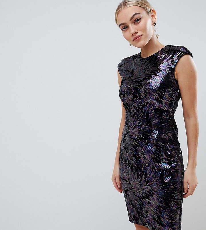 Petite allover sequin pencil dress in purple multi