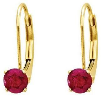 Round Birthstone Lever Back Earrings, 14K Gold