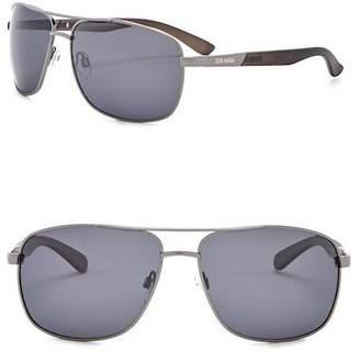 Steve Madden 63mm Square Aviator Polarized Metal Frame Sunglasses