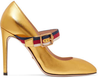 Gucci Canvas-trimmed Metallic Leather Pumps - Gold