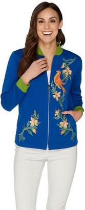 Bob Mackie Bob Mackie's Embroidered Songbird Zip Up Jacket