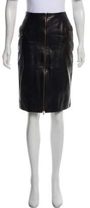 Christian Dior Leather Knee-Length Skirt