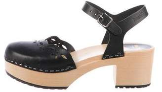 Swedish Hasbeens Laser Cut Platform Clogs