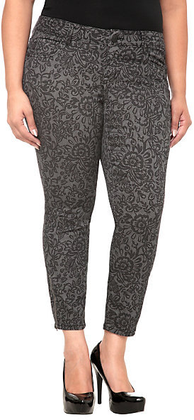Torrid Denim - Grey Lace Print Ankle Zip Stiletto Jeans