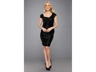 Jessica Simpson Cap Sleeve Aysmmetrical Drape Ruched Dress Women's Dress